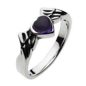 指輪 シルバーリング メンズ アメジスト エンジェルハート 羽 レディース ピンキーリング|e-standard