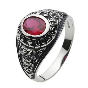 指輪 メンズ カレッジリング ルビー シルバー925|e-standard
