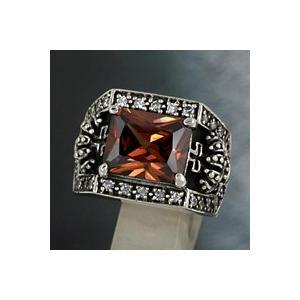 シルバーリングメンズ 指輪 ブラウンジルコニア リング シルバーアクセ 指輪 e-standard