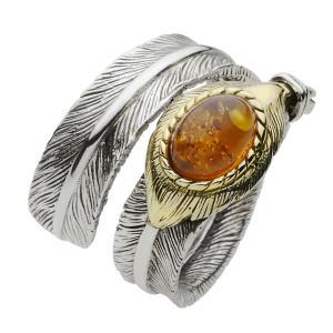 シルバーリング 指輪 メンズ フェザー 琥珀 アンバー フリーサイズ|e-standard