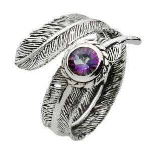 指輪 シルバーリング メンズ ミスティッククォーツ フェザーリング フリーサイズ|e-standard