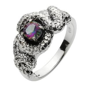 指輪 シルバーリング メンズ ミスティッククォーツ 蛇 スネークリング|e-standard