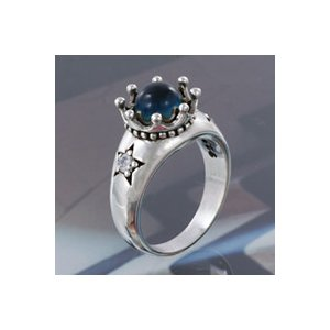 シルバーアクセサリー シルバーリング 指輪メンズ スター ブルージルコニアクラウンリング 王冠 指輪シルバー925リング e-standard