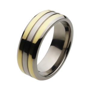 チタンリング 指輪 メンズ アクセサリー ゴールドカラー|e-standard
