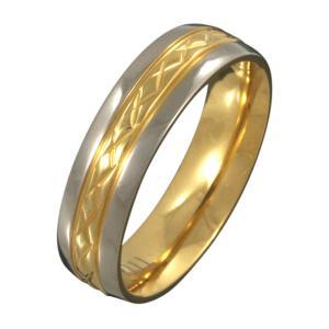 【FIGMART】ダイアモンド パターン ゴールド チタン リング メンズ【チタンリング チタンアクセサリー】fr4024|e-standard