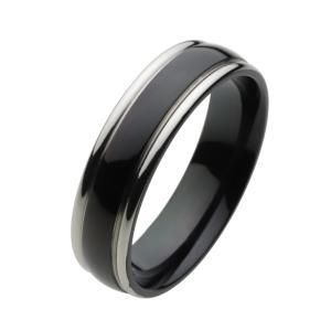 【FIGMART】ブラック ライン チタン リング メンズ【チタンリング チタンアクセサリー】fr4040|e-standard