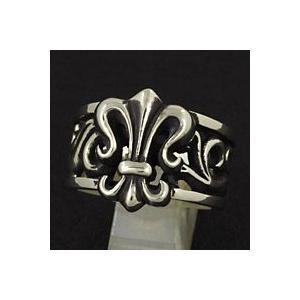 指輪 メンズ ホワイトメタルリング リリー 百合 ユリの紋章|e-standard