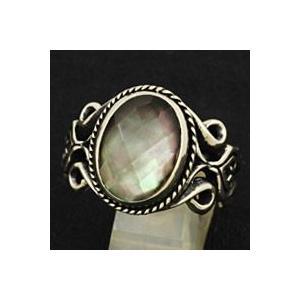 指輪 メンズ ホワイトメタルリング ブラックシェル|e-standard