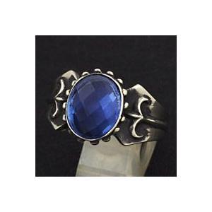 指輪 メンズ ホワイトメタルリング ブルークォーツ|e-standard