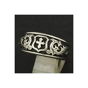指輪 メンズ ホワイトメタルリング クロス ゴシック 紋章|e-standard