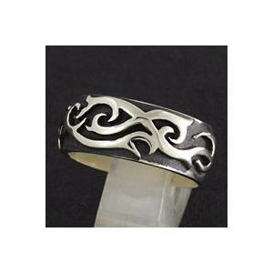 指輪 メンズ ホワイトメタルリング トライバル柄 ハード|e-standard
