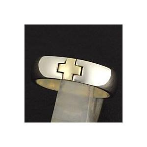 指輪 メンズ ホワイトメタルリング シンプル クロス|e-standard