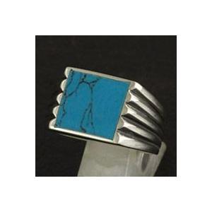指輪 メンズ ホワイトメタルリング ターコイズ シンプル ネイティブ系|e-standard