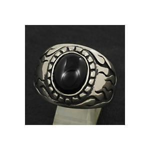 指輪 メンズ ホワイトメタルリング オニキス ファイヤーパターン|e-standard