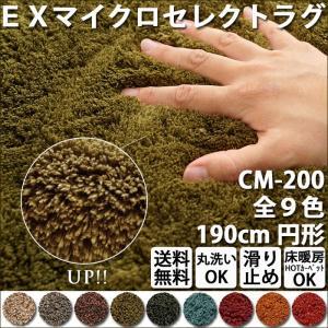 ラグ スミノエ 洗えるEXマイクロセレクトラグマット 直径190cm 円形 ホットカーペットOK CM-200 絨毯 190R マイクロファイバー|e-start