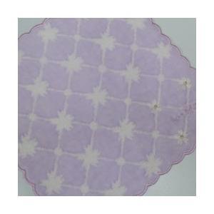 NINA RICCI ニナリッチ ミニタオルハンカチ レディース サクラ刺繍柄 パープル系(22×23cm/2019春)の画像