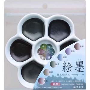 15451 墨運堂 絵墨  梅皿 6色セット 【メール便対応】 e-unica