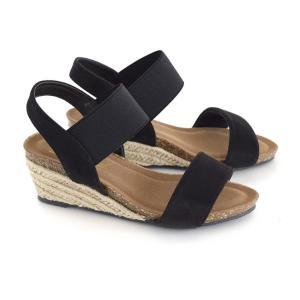 サンダル ウェッジソール レディース 夏 ゴムバンド 靴 シューズ 歩きやすい 脱げない ヒール ローヒール 大きいサイズ アンクルストラップ