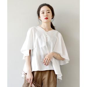 プルオーバー レディース トップス シャツ ブラウス 白シャツ 半袖 体型カバー 綿100 コットン 春 夏|e-zakkamania