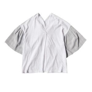 カットソー レディース Tシャツ Vネック 半袖 五分袖 ボリューム袖 大きいサイズ デザイン袖 ト...