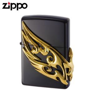 zippo ライター ジッポーライター zippoライター ブランド メンズ ウイングメタル ブラックゴールド ギフト プレゼント 贈り物|e-zakkaya