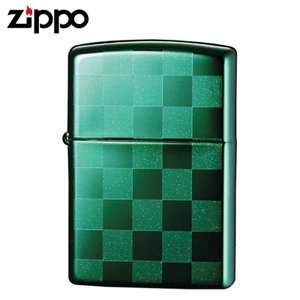 zippo ジッポーライター チェック 市松模様 チェッカーデザイン グリーン 25CKGR