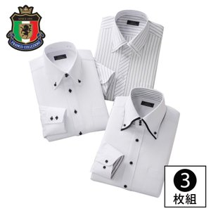 ワイシャツ 長袖 セット 3枚組 3枚セット メンズ ボタンダウン ドレスシャツ ビジネス 会社 オフィス ホワイト 白 S M L LL XL 3L 大きいサイズ ゆったり ドレスシャツ3枚組 ホワイト系 50390  メンズファッション