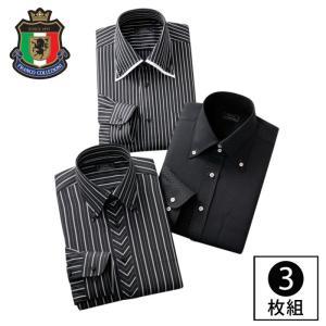 ワイシャツ 長袖 セット 3枚組 3枚セット メンズ ボタンダウン ドレスシャツ ビジネス 会社 オフィス 柄 ストライプ ブラック 黒 S M L LL XL 3L 大きいサイズ e-zakkaya