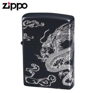 zippo ジッポーライター 和柄 ドラゴン 龍  2面つなぎ加工 イオンマットブラック&エッチング&銀メッキ差し 2DRG-B