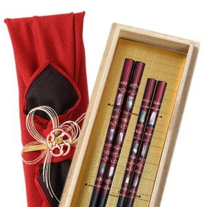 箸 夫婦箸 結婚祝い ギフト 高級箸 おしゃれ かわいい 桐箱 箸 ペア 二膳セット 飛栄 若狭塗 若狭箸