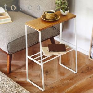 サイドテーブル 北欧 白 スリム ソファサイドテーブル トスカ ホワイト
