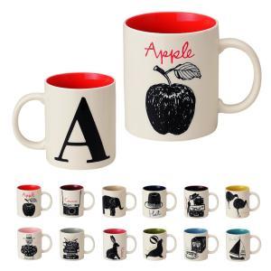マグカップ イニシャル おしゃれ 北欧 アルファベットマグ 陶器 カフェ風 コップ お洒落 かわいい 大きい コップ ディクショナリーマグ プチギフト