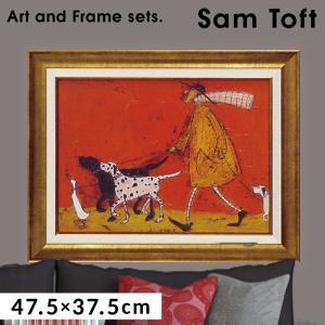 アートパネル アートフレーム 壁掛け サムトフト おしゃれ 絵画 絵 アートボード インテリア イギリス作家 ウォーキーズ ST-08005 アートボード 新築祝い 玄関 モダン ほっこり 癒し 大きい 大型サイズ 犬 イヌ いぬ ドッグ
