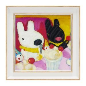 アートパネル リサとガスパール アートフレーム ウォールパネル インテリアパネル 壁掛け 子供部屋 絵画 絵 玄関 ピエロのパフェ GL-02006 うさぎ ウサギ イラスト かわいい おしゃれ
