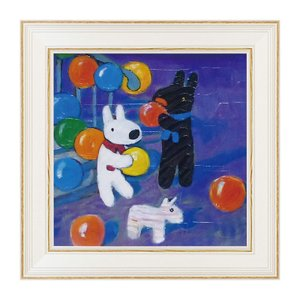 アートパネル リサとガスパール リサガス 絵画 絵 アート インテリア 子供部屋 アートフレーム Mサイズ おたんじょうびおめでとう お誕生日 GL-05803 うさぎ ウサギ イラスト かわいい おしゃれ