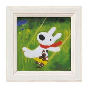 アートパネル リサとガスパール リサガス ミニアート ウォールパネル 小さい インテリアパネル 壁掛け 子供部屋 絵画 絵 玄関 こねこをかう GL-00651 うさぎ ウサギ イラスト かわいい おしゃれ