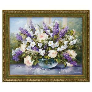 絵画 花 絵 アート インテリア フラワー 紫 グリーン シューンハマー サマー グリーティング1 SC-11001|e-zakkaya