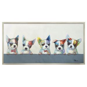 アートパネル 壁掛け インテリア 油絵 額入り オイル ペイント アート アートパネル 動物 犬 カラフル ウェルプ アニマル|e-zakkaya