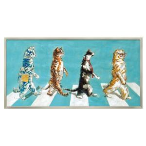 アートパネル モダン おしゃれ 猫 ねこ ネコ 猫グッズ 猫好き 動物 アニマル アビーロード アートフレーム 額入り 壁掛け 油絵 手描き アート 大型アート 絵画 絵 ハンドペイント オイルペイント アート アビーロード