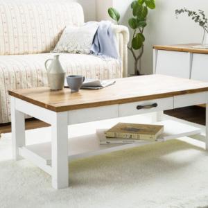 テーブル 机 ローテーブル センターテーブル リビングテーブル 引き出し付き 棚付き カントリーリビングテーブル JFF-9050LT メーカー直送|e-zakkaya