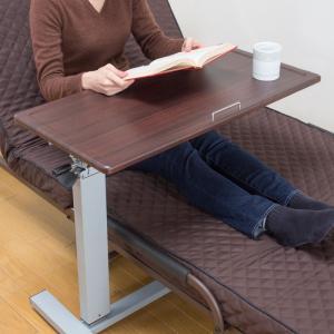 サイドテーブル 昇降 ベッド ソファー 天板の角度が変えられるガス圧昇降式サイドテーブル メーカー直送|e-zakkaya