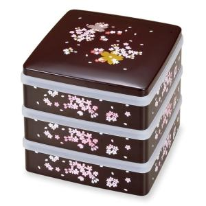 重箱 3段 日本製 重箱 お重 山中塗 DX5.5胴張三段重 溜 桜小町 M13576