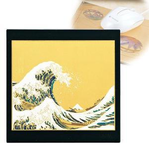 マウスパッド 海外 土産 日本のお土産 漆芸マウスパッド 新波に富士(黒) M14826-8