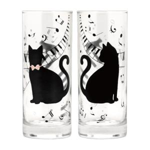 タンブラー ガラス コップ 300T ペア ピアノ AR0604146 キャット ネコ キャット ネコ 猫 グッズ特集 アイデア 便利|e-zakkaya