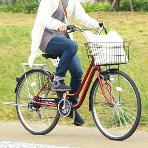 自転車 26インチ ノーパンク アクティブプラス911 ノーパンク26インチ軽快車 6段ギア レッド ACTIVEPLUS911 ノーパンク軽快車266SF MG-TCG266NF