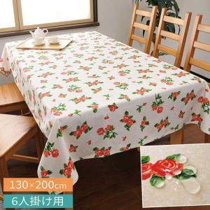 テーブルクロス 撥水 北欧 おしゃれ 長方形 花柄 バラ 薔薇 バラ柄 柄 リネン 130×200cm ダイニングテーブル 6人掛け ダイニング テーブル 丈夫 かわいい 綿100|e-zakkaya