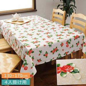 テーブルクロス 撥水 北欧 おしゃれ 長方形 花柄 バラ 薔薇 バラ柄 柄 リネン 130×170cm ダイニングテーブル 4人掛け ダイニング テーブル 丈夫 かわいい 綿100|e-zakkaya