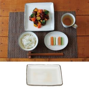 和食器 皿 日本製 レンジ対応 食洗機対応 食洗器対応 描き落とし粉引 正角皿 K11222 アイデア 便利|e-zakkaya