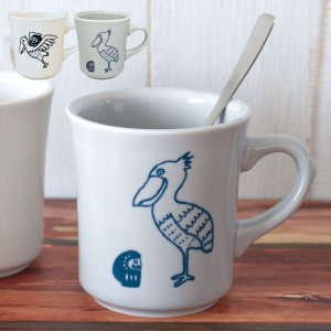 マグカップ 北欧 かわいい 美濃焼 レンジ対応 食洗機対応 だるま 鳥 だるまとハシビロコウ マグ ...