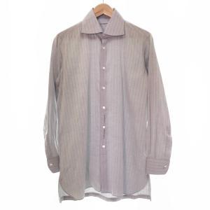 ●ARISTOCRATICO CAMICERIA アリストクラティコ コットンシャツ メンズ 日本製 長袖 綿100% 総柄 トップス ライトグレー 1AC/30899 e3apparel-ltd-ys